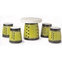 黄ガラステーブルセット(5点)