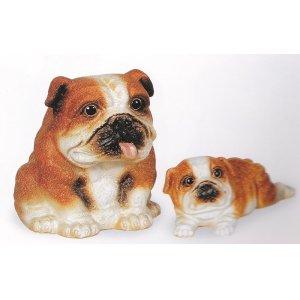 画像1: ブルドック(茶)(左側) ブルドッグ仔犬(茶)(右側)