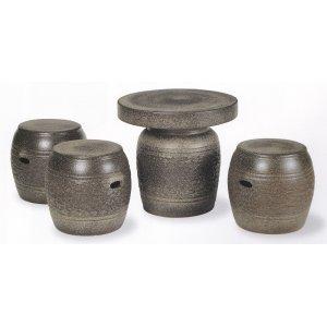 画像1: 窯肌松皮テーブルセット(4点)