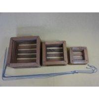 チーク材バスケット 四角型(吊るしワイヤー付き)