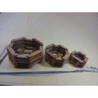 チーク材バスケット 八角型(吊るしワイヤー付き)
